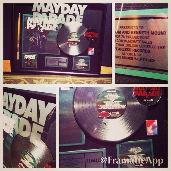 Another @Mayday_Parade plaque for the studio wall! Over 100,000 sold .  Mayday parade self titled #tiiiiiiiiight http://t.co/DQeCsGVQoX