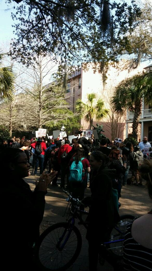 This is the protest at #CofC. http://t.co/mLKTrRWexV