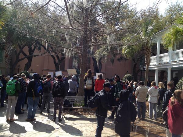 students -- many dressed in black -- gathering in protest of Glenn McConnell's #CofC hire http://t.co/mBoSuSV3Pi