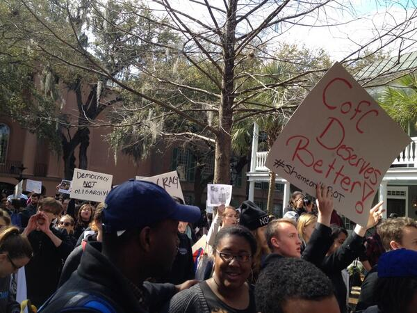 "#CofC students chant ""Whose School? Our school?"" as McConnell protest march begins http://t.co/zRDOr0ltDD"