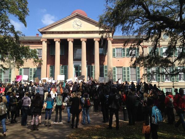 "#CofC McConnell protest hits cistern yard. ""Hey hey. Ho ho. Glenn McConnell has got to go"" http://t.co/5L0gHNfFWj"