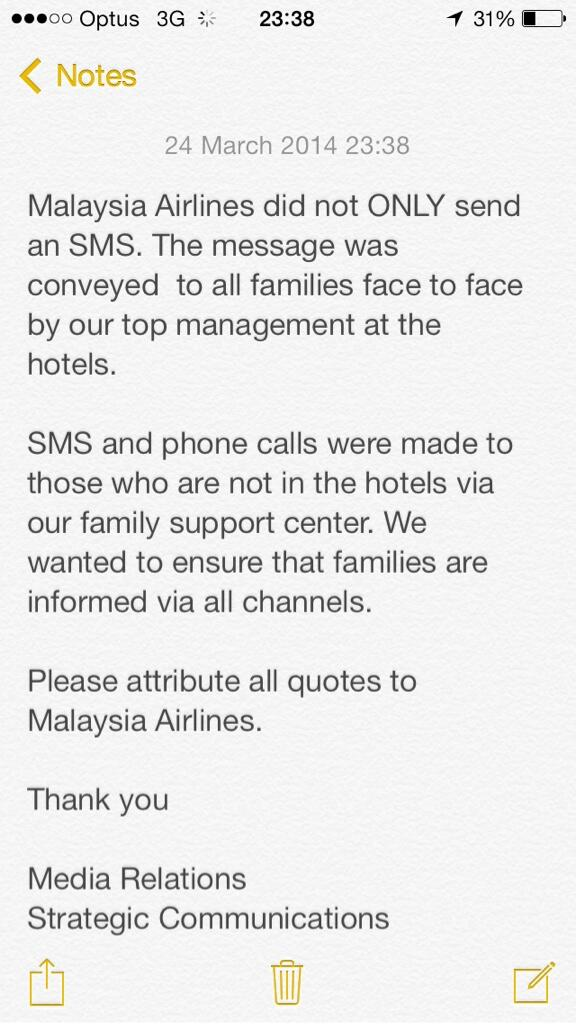 We have asked #Malaysia Airlines about the text messages sent to relatives. Their response here: http://t.co/9fgCU1j8MC