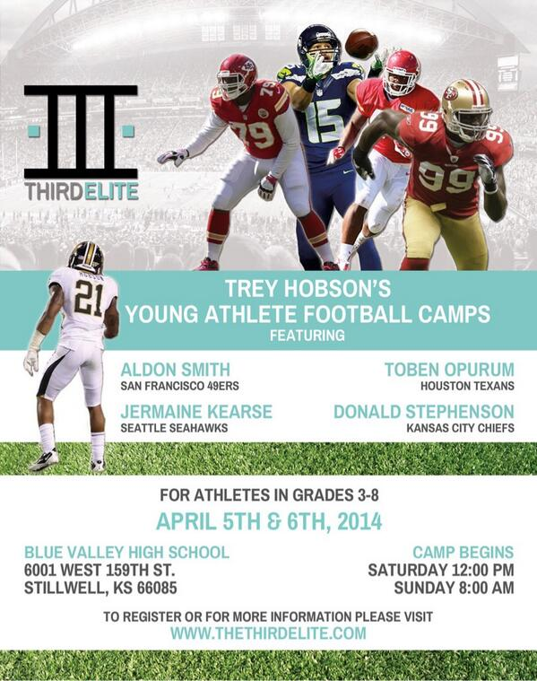 All my KC followers Don't miss your opportunity to learn from some of the NFLs best at @TreyHob21 camp at Blue Valley http://t.co/BbotrV28W2