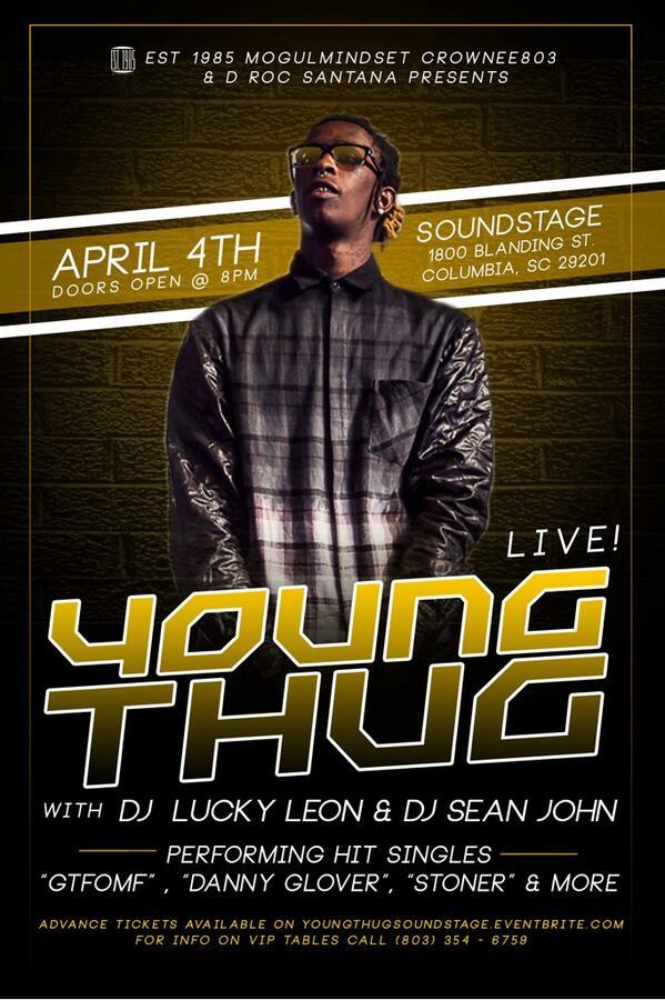 FRIDAY APRIL 4TH!! YOUNG THUG PERFORMING LIVE!!!!! HIT ME @CrownEE803 @drocsantana for tix!! http://t.co/YtSgPZvkof