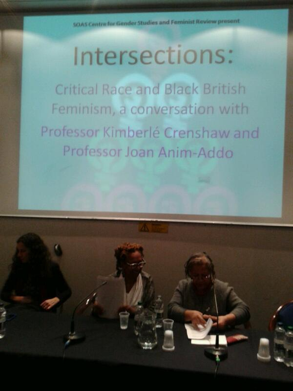 Prof Kimberle Crenshaw speaking at @SOAS on critical race and British Black feminism with Prof Joan Anim-Addo. http://t.co/AbV55fbKm9