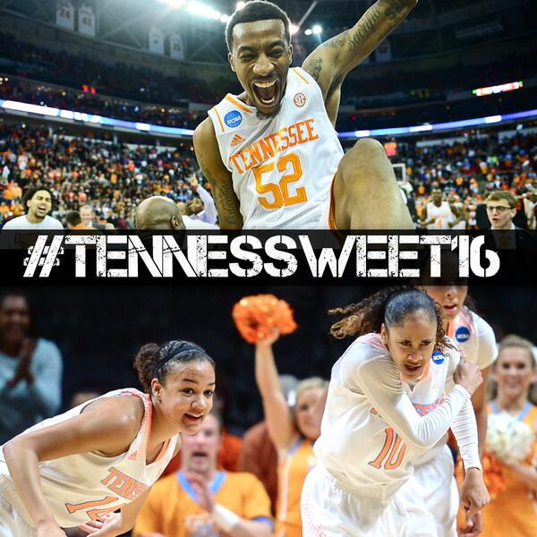 UT becomes the 3rd program this season with both a men's & women's team in the #Sweet16. Excuse us. #TennesSweet16 http://t.co/BrfQLC7AGM