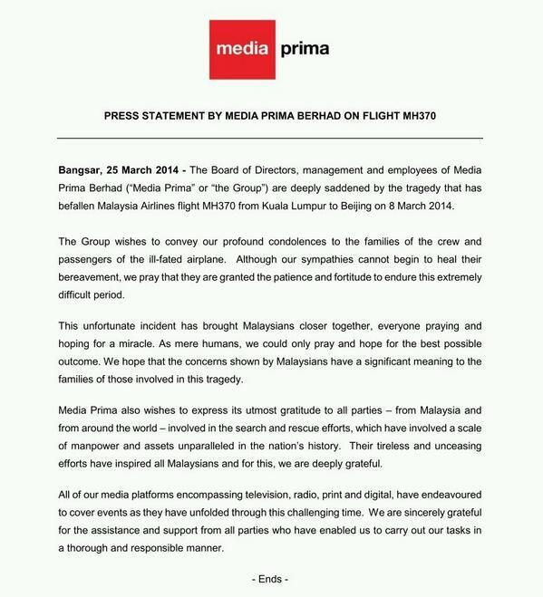 Press Statement by Media Prima Berhad on Flight MH370. http://t.co/VykRfgKwfY