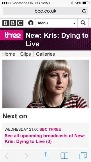 Tonight on bbc 3 at 9 pm the magnificent, inspiring, brave female warrior that is @KrisPoB please all watch http://t.co/tDBTJG8uGc