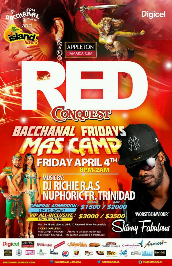 What happens when @IslandVibesJA links up with @AppletonJamaica & @BacchanalJA ??? #REDConquest #April4 http://t.co/NCHzef8cew