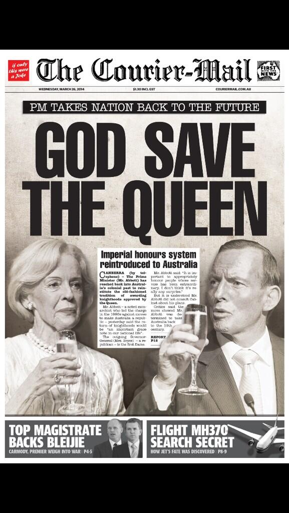 Whoever designed tomorrow's courier mail splash deserves a knighthood. Exposes it for the dated crap it so is http://t.co/1oAy9jKBYU