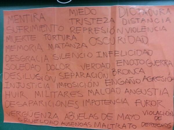 #memoriaNls en 2do año los organizadores escribieron estas palabras y  piden que elijan y dibujen lo q les sugieren http://t.co/QKqQPCTl4U