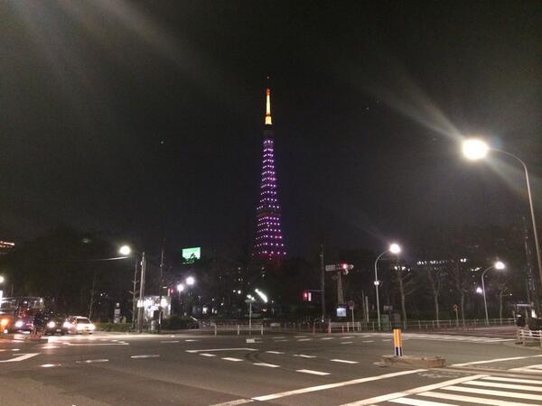 今宵の東京タワーは桜の開花記念。今夜限りですよ! #東京タワー #tokyo http://t.co/KIyCgyO3Bj