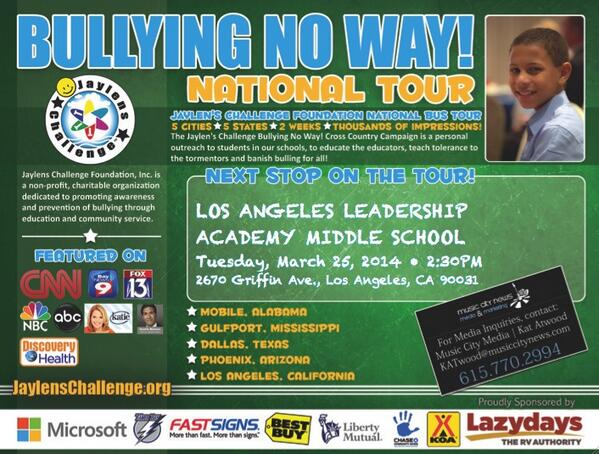 Come on Los Angeles! You're the next stop on the Bullying No Way! National Tour! http://t.co/HEcQiPfmR8