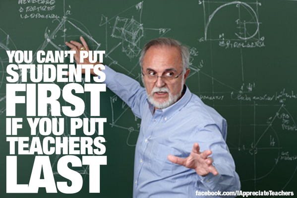 You can't put students first if you put teachers last. #edchat http://t.co/um72xj4DnX