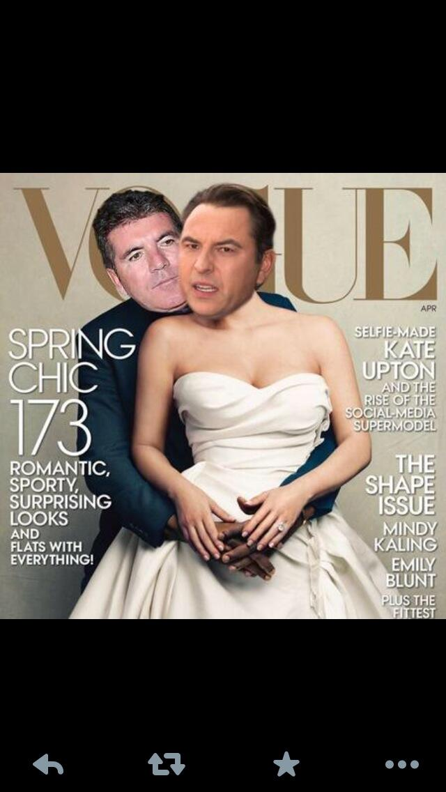 RT @davidwalliams: At last! Me and my @SimonCowell on the cover of @VogueMagazine ! http://t.co/G3T2IeDtYf