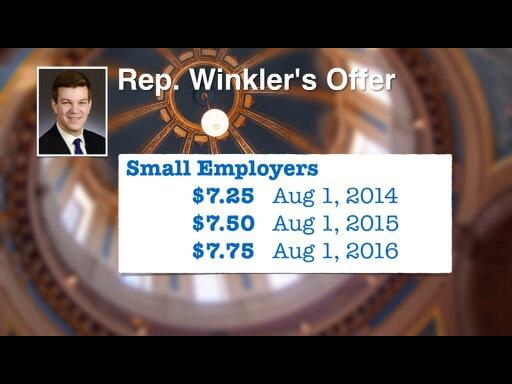 "Rep. Winkler's small employer min wage scale is also indexed to the ""implicit price deflator."" http://t.co/GpXO2MqlO7"
