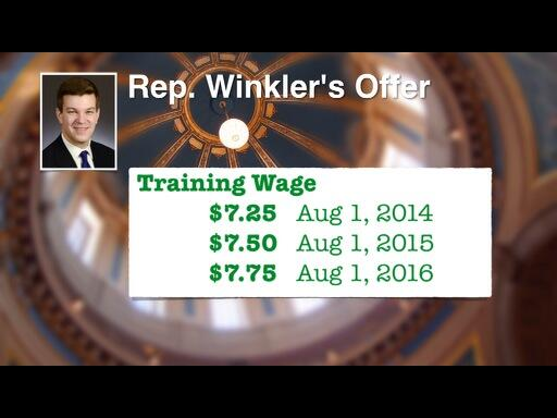 Part of Rep. Winkler's compromise to the Senate negotiators reduces the rate on the training wage. http://t.co/zdPTVk1nnO