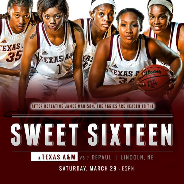 HOW SWEET IT IS! The Aggies defeat James Madison 85-69 to advance to the Sweet 16!!!! #12thMan http://t.co/wXf4xu1fAS