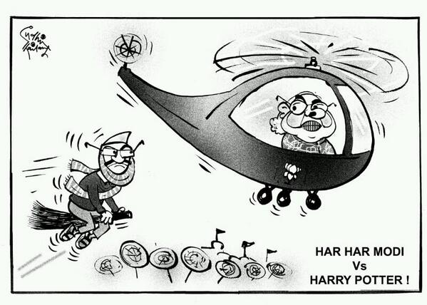 #Modi Vs #Kejriwal in #Varanasi. Cartoon by #SudhirTailang http://t.co/AdpFNdkWqY