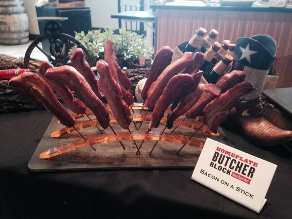 Yes, that's bacon on a stick to be sold at #Rangers games this year. $7. http://t.co/dMo8nDZFo4