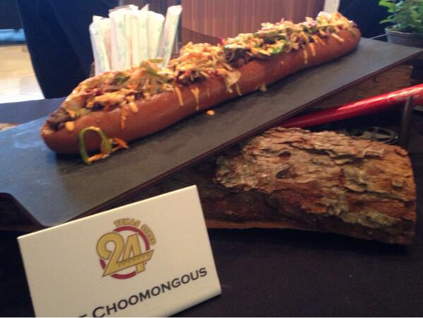 Here's The Choomongous, a 24-inch Asian beef sandwich with spicy slaw on a bun. Cost $26. #rangers http://t.co/ZBGjY9NLJx