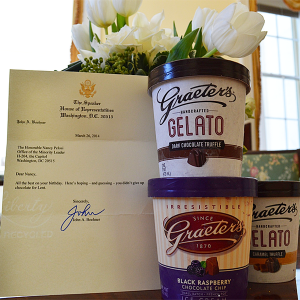 Thank you @SpeakerBoehner for this delicious gift on my birthday. It's certainly testing me during lent! http://t.co/VGLhnXDI4N