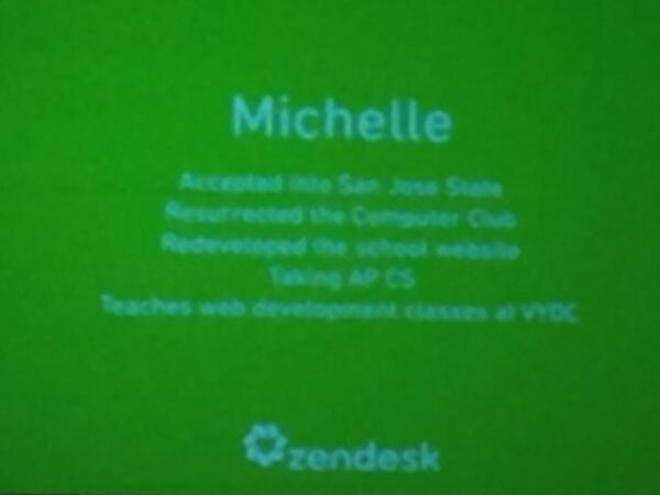 Powerpoint slide - Michelle full ride scholarship,CS major, resurrected CS club. Congrats!