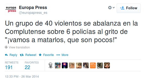 Hola, @europapress_es: este tuit vuestro más este vídeo nuestro demuestran que sois basura. http://t.co/mm8I0EIplf http://t.co/SeUYHYrQrQ