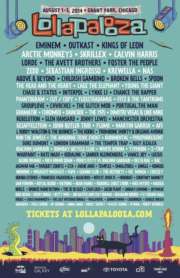 This year's @lollapalooza lineup includes @Eminem, @Zedd, and @Skrillex... Awesome! http://t.co/WFlkI5xJej http://t.co/TLvLUfBui4