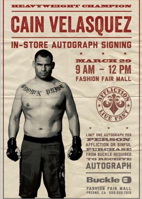 Get ready! @ufc Champ @cainmma heading to #fresno on March 29th @BuckleStore Arrive early!@Affliction @ufc http://t.co/ZB8o2RrrWB