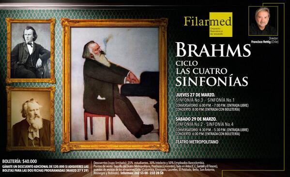 Por primera vez @Filarmed presentará un ciclo de las sinfonías del compositor alemán Johannes Brahms, http://t.co/YdFIi2hmUH