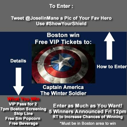 Hey Boston, MA Win 2 FREE Tix to #Marvel 4/1 #CaptainAmerica Fan Screening Guaranteed Seating & more! #ShowYourShield http://t.co/7hRtGnZanV