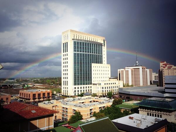 View from Sactown HQ: a rare full rainbow over downtown Sacramento http://t.co/7IiNwsTeoD