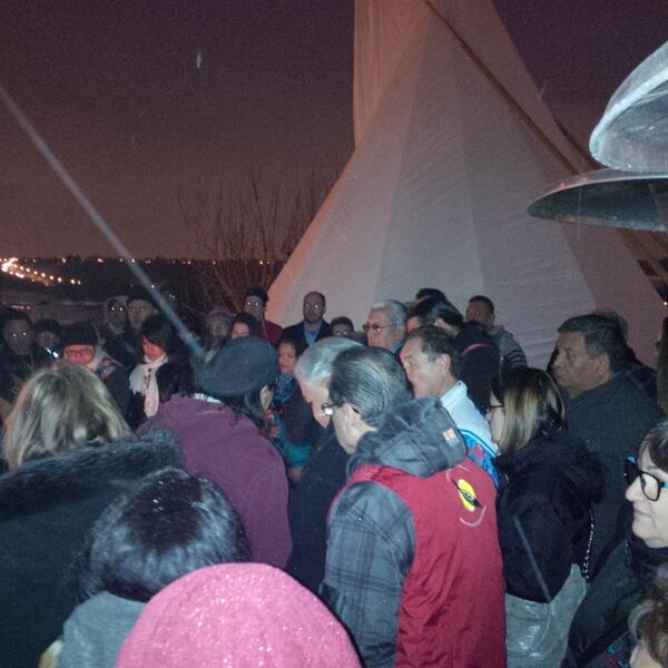 People gather for sacred fire ceremony - #TruthAndReconciliationCommission National Alberta Event in Edmonton #TRC<br>http://pic.twitter.com/kVr8QeAQOD