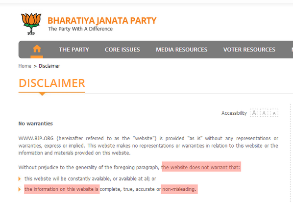 Kapil On Twitter Killer Lines BJPs Website Disclaimer Page Truly Represent Their FEKU Character Tco 9nBpQiujFy