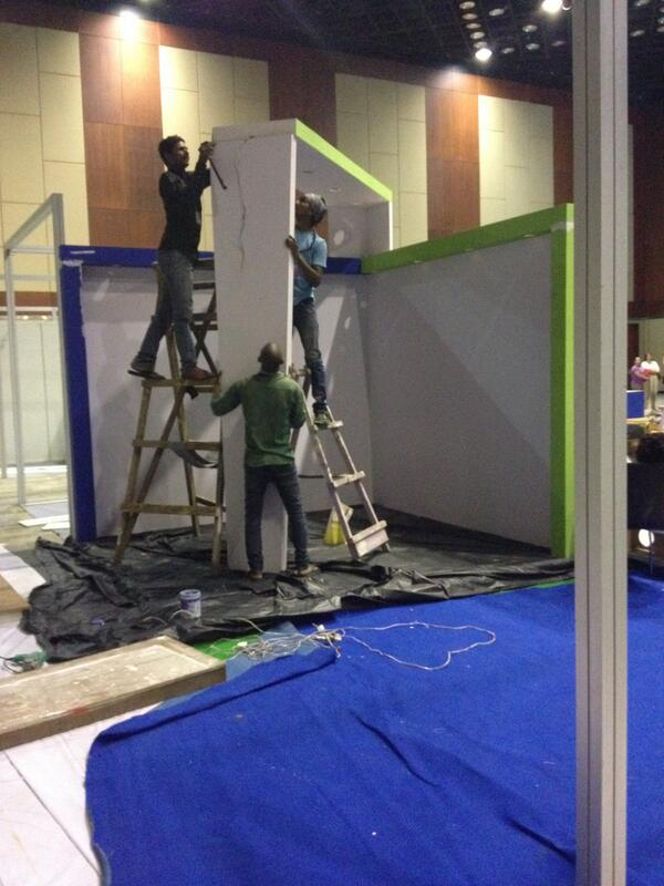 The CUP stand construction stage one at Hyderabad.....#rcog2014 http://t.co/hgzqQny4ia