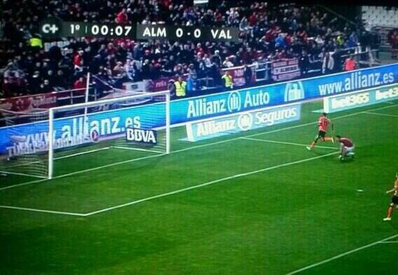 Valencias Seydou Keita scored the fastest goal in La Liga history after 7.6 seconds v Almeria [GIF]