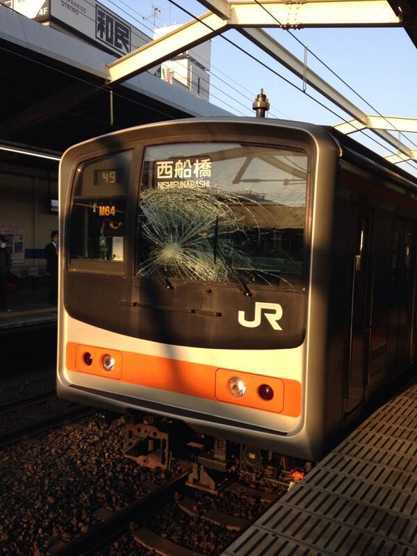 武蔵野線、鳥が運転席に突っ込みガラスが割れたとの事…(・・;)鳥は大丈夫? pic.twitter.com/U8Pi9RkXwo