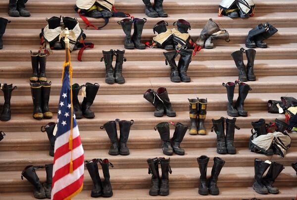 Each pair represents a firefighter that has died from cancer after battling flames, and toxins http://t.co/ejudlLSIYc http://t.co/Xgfok6mWgv