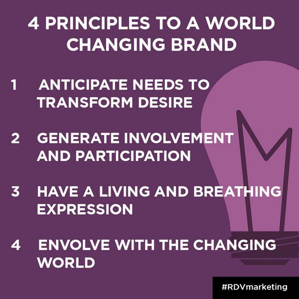 The 4 principles to a world changing brand, according to @jezframpton, CEO of @Interbrand. #RDVMarketing http://t.co/HEPfeQ8Um9