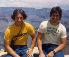 Tom Izzo & I at the Grand Canyon on a cross-country roadtrip post college grad 1977 #TBT How's that #MarchMadness! http://t.co/bXQv8DLAvk