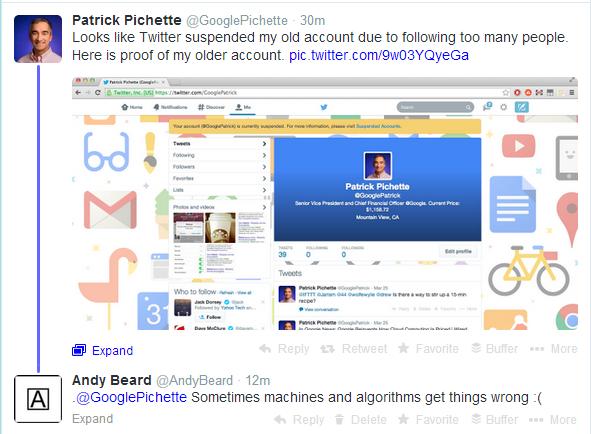 Has Twitter now suspended Google CFO Patrick Pichette twice? @googlepatrick @GooglePichette http://t.co/BtFwqkR17D