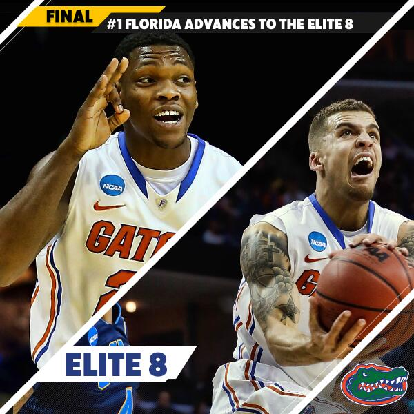 FOUR STRAIGHT ELITE EIGHTS!  No. 1 Florida continues astounding run with 79-68 win over No. 4 UCLA. #MarchMadness http://t.co/5RRT9rCI9Y