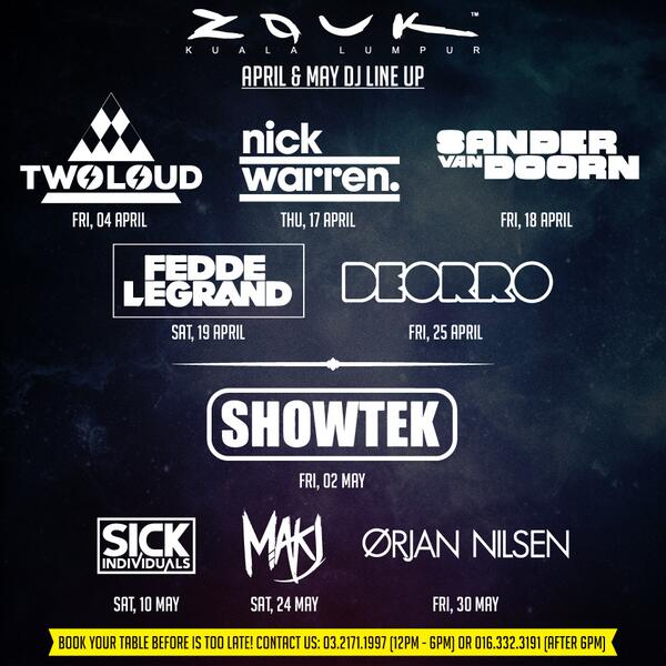 Heres the April & May Lineup for @zoukclubkl ! Hope you guys like it. http://t.co/cSMWEbSnCA