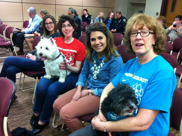 Charlie, right, and Guiness are at tonight's borough council meeting for the Bark for Life proclamation no doubt. http://t.co/XOGbngGYXt