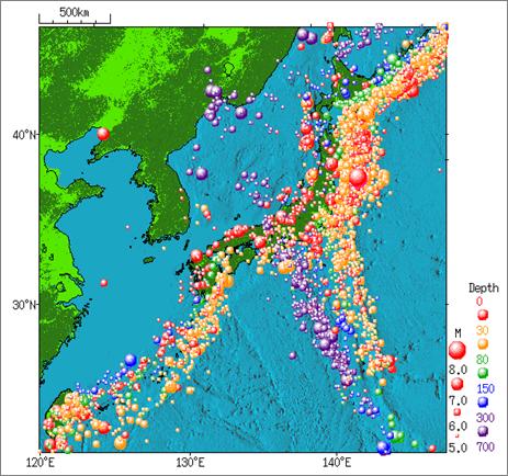 地震のたび、原発が気になります。下図は気象庁のサイトより「1960年から2011年にかけての日本付近で発生した地震の分布図」 http://t.co/9YpoQflP20 「再稼働できませんよ」とかいてあるように見えませんか 。 http://t.co/G9njDlQZsb