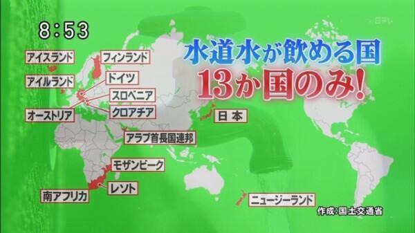 """大阪市聞いてる?""""@tabtab7: 【外資が日本の水道事業に参入していた】 水道水が飲める国は僅か13か国日本は水質も良質、恵まれている環境に感謝 外資に明け渡してはならない     http://t.co/u2zpXb4nkt http://t.co/YbhC63ecBs"""""""