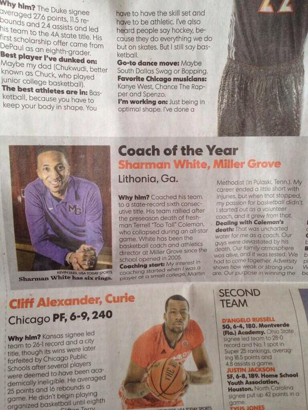 CONGRATULATIONS to my dude  @coachswhite for winning 2014 National Coach Of The Year! That's big time & well deserved http://t.co/rMs1TQKshC