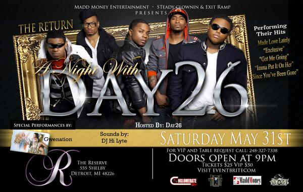 Detroit, MI - DAY26 Live On Stage, May 31st @ The Reserve!!!!!! Get Your Tickets NOW!!! https://t.co/wV3uQbK9Jd … http://t.co/XVbyb3C5Xq