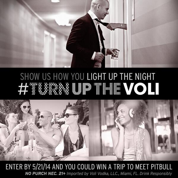 How do you #TurnUpTheVoli? Show @Pitbull & #VoliVodka!  For official photo contest rules: http://t.co/ysLEkTBCvB http://t.co/t1jEvoQXBl